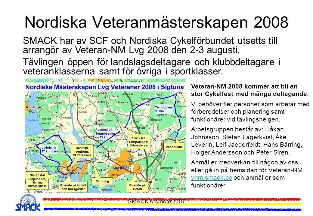 SMACK Årsmöte 2007 Nordiska Veteranmästerskapen 2008 SMACK har av SCF och Nordiska Cykelförbundet utsetts till arrangör av Veteran-NM Lvg 2008 den 2-3