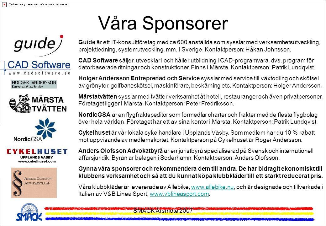 SMACK Årsmöte 2007 Våra Sponsorer Guide är ett IT-konsultföretag med ca 600 anställda som sysslar med verksamhetsutveckling, projektledning, systemutv