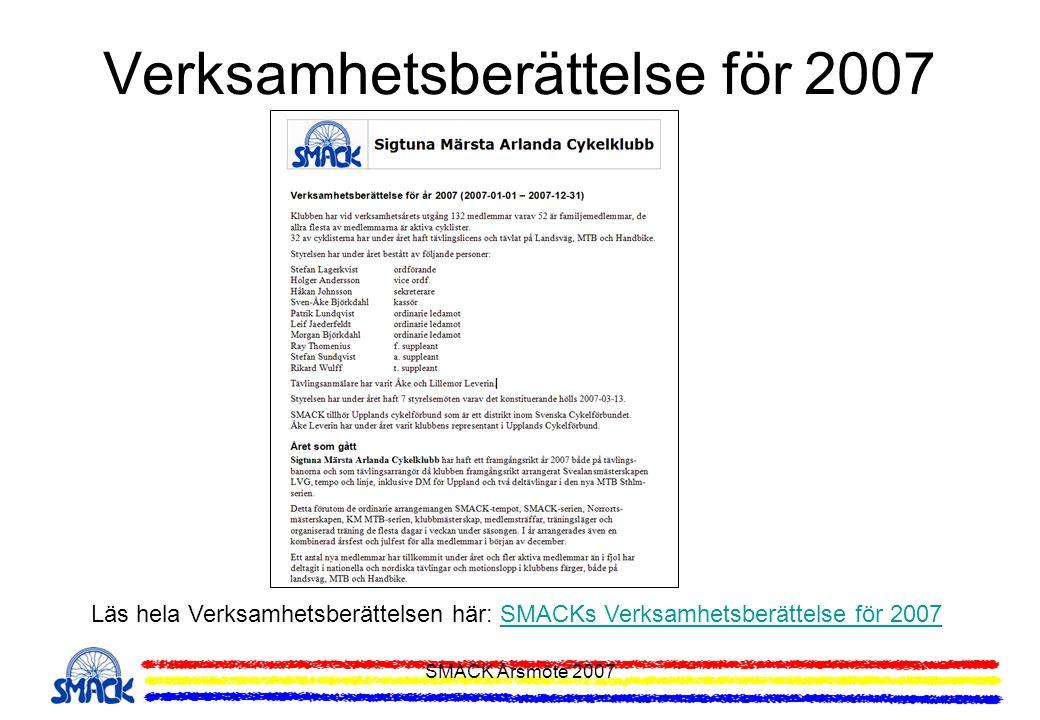 SMACK Årsmöte 2007 Upptaktsmöte för 2008 Information som lämnades vid Upptaktsmötet och som följer i denna presentation: Aktiviteter under 2008 Frågor till medlemmarna Tränings- och motionsupplägg Egna klubbarrangemang SMACK-serien SMACK MTB-serie Träningsläger MTB och Lvg Licenser och Försäkringar Tävlingar och Motionslopp Tävlingsprogrammet 2008 Motionslopp 2008 Långloppscupen MTB Veterancupen LVG Egna tävlingar 2008 SMACK-tempot MTB Sthlm Nordiska Veteranmästerskapen LVG Klubbmästare 2007 Föreningsadministration Hemsida och e-post Medlemssidor och uppgifter Medlemskort och förmåner Våra sponsorer Klubbkläder Provning och beställning av klubbkläder