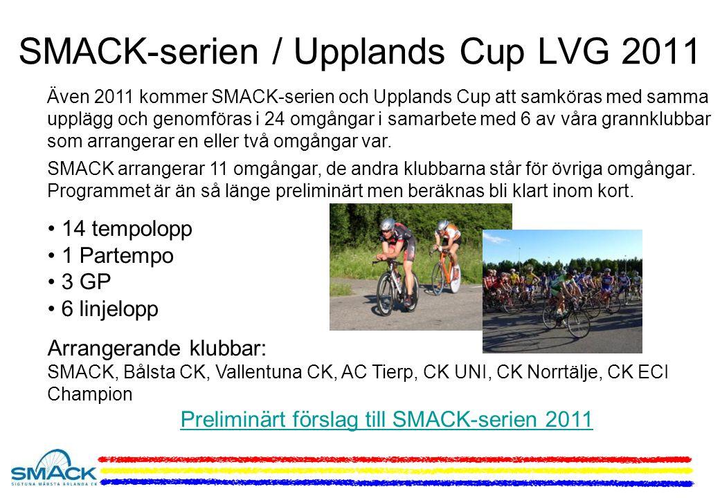 Även 2011 kommer SMACK-serien och Upplands Cup att samköras med samma upplägg och genomföras i 24 omgångar i samarbete med 6 av våra grannklubbar som arrangerar en eller två omgångar var.
