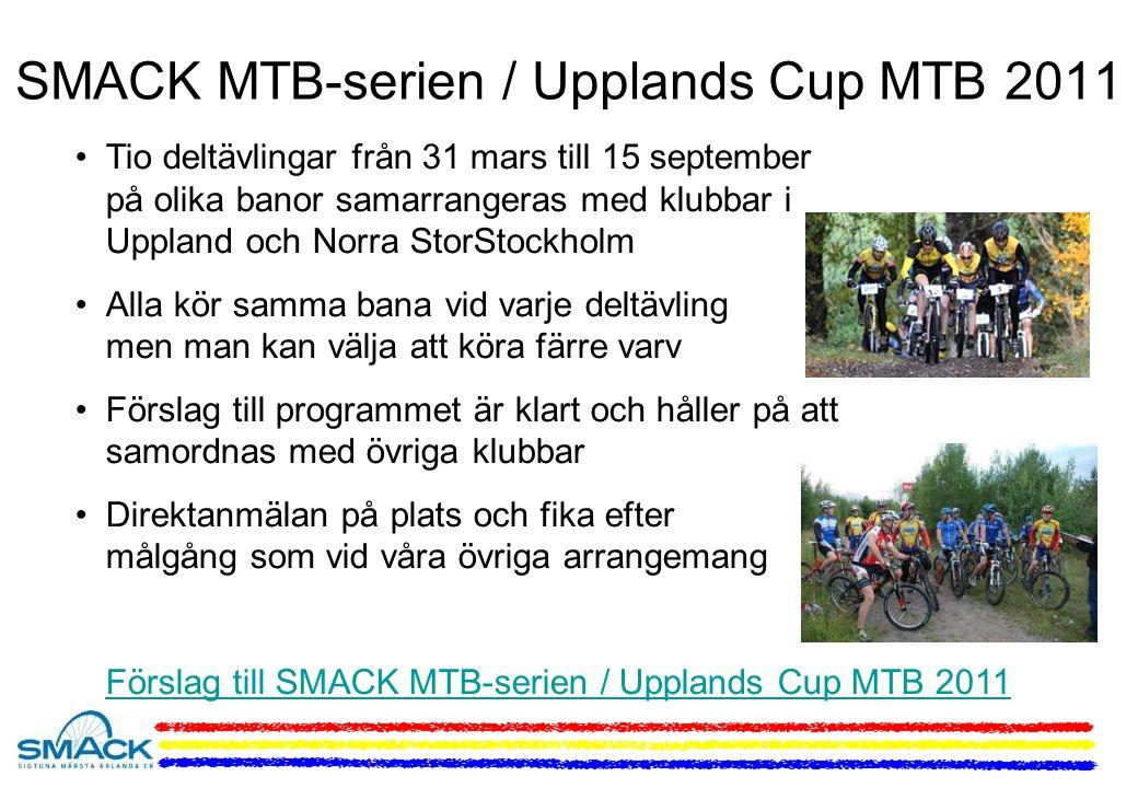 SMACK MTB-serien / Upplands Cup MTB 2011 Tio deltävlingar från 31 mars till 15 september på olika banor samarrangeras med klubbar i Uppland och Norra StorStockholm Alla kör samma bana vid varje deltävling men man kan välja att köra färre varv Förslag till programmet är klart och håller på att samordnas med övriga klubbar Direktanmälan på plats och fika efter målgång som vid våra övriga arrangemang Förslag till SMACK MTB-serien / Upplands Cup MTB 2011
