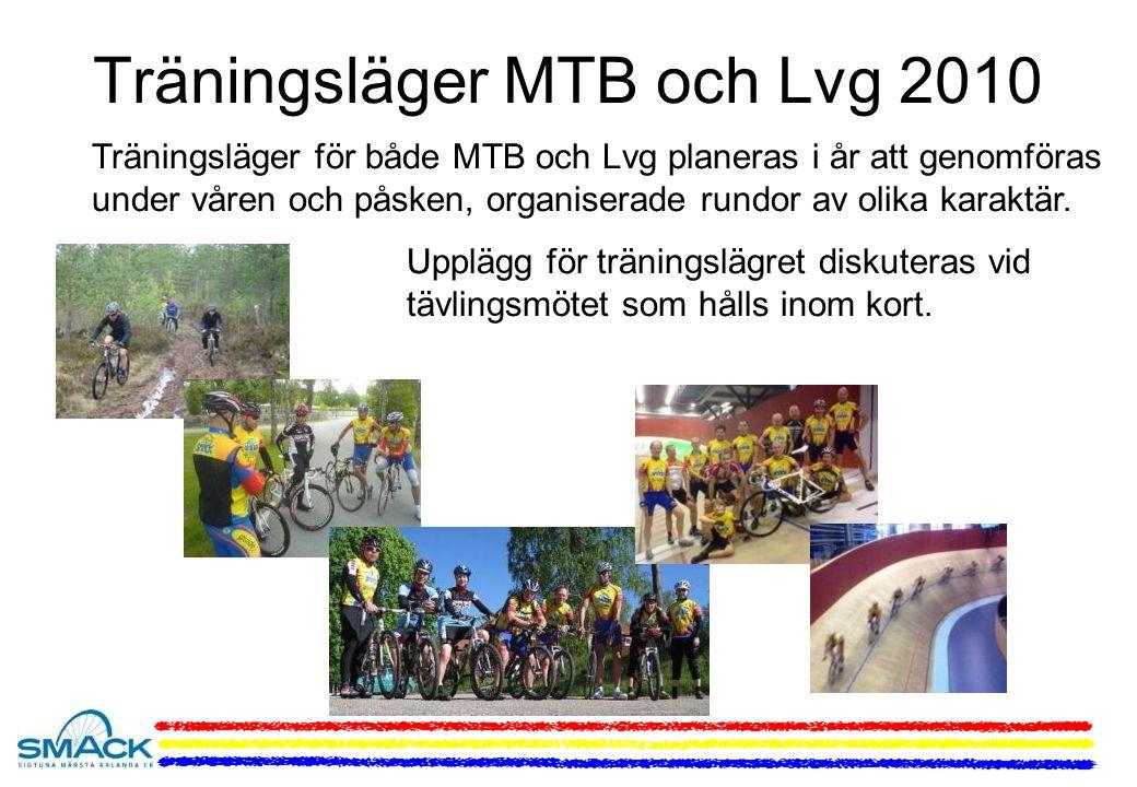 Träningsläger MTB och Lvg 2010 Träningsläger för både MTB och Lvg planeras i år att genomföras under våren och påsken, organiserade rundor av olika karaktär.