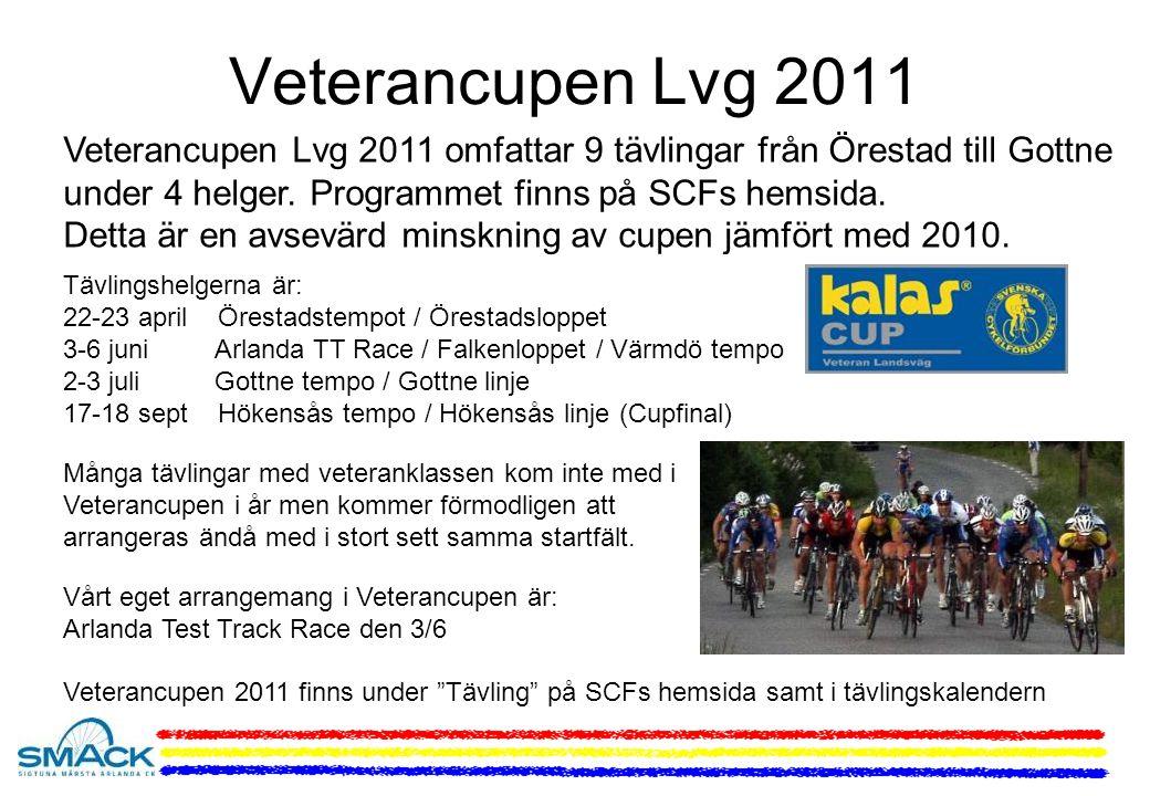 Veterancupen Lvg 2011 Veterancupen Lvg 2011 omfattar 9 tävlingar från Örestad till Gottne under 4 helger.