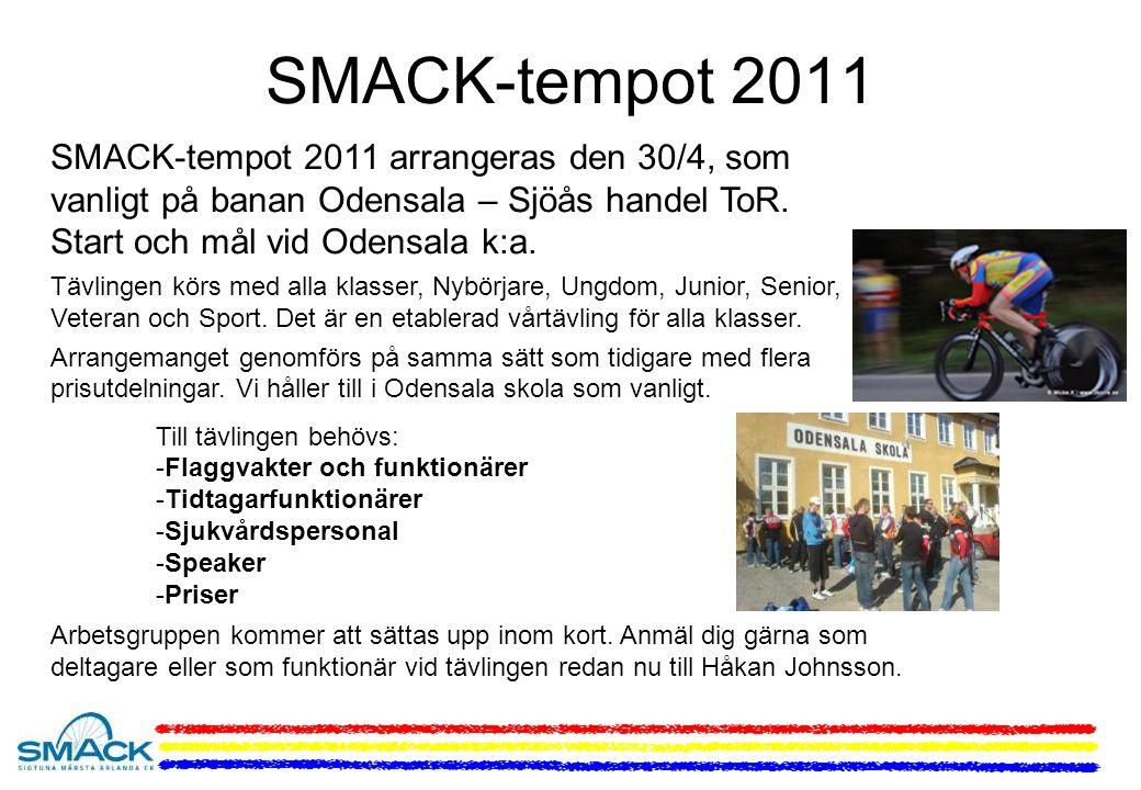 SMACK-tempot 2011 SMACK-tempot 2011 arrangeras den 30/4, som vanligt på banan Odensala – Sjöås handel ToR.