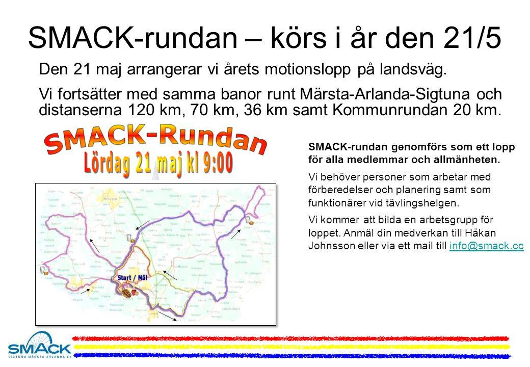 SMACK-rundan – körs i år den 21/5 Den 21 maj arrangerar vi årets motionslopp på landsväg.