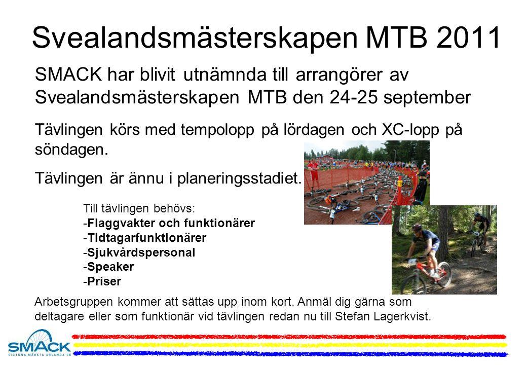 Svealandsmästerskapen MTB 2011 SMACK har blivit utnämnda till arrangörer av Svealandsmästerskapen MTB den 24-25 september Tävlingen körs med tempolopp på lördagen och XC-lopp på söndagen.