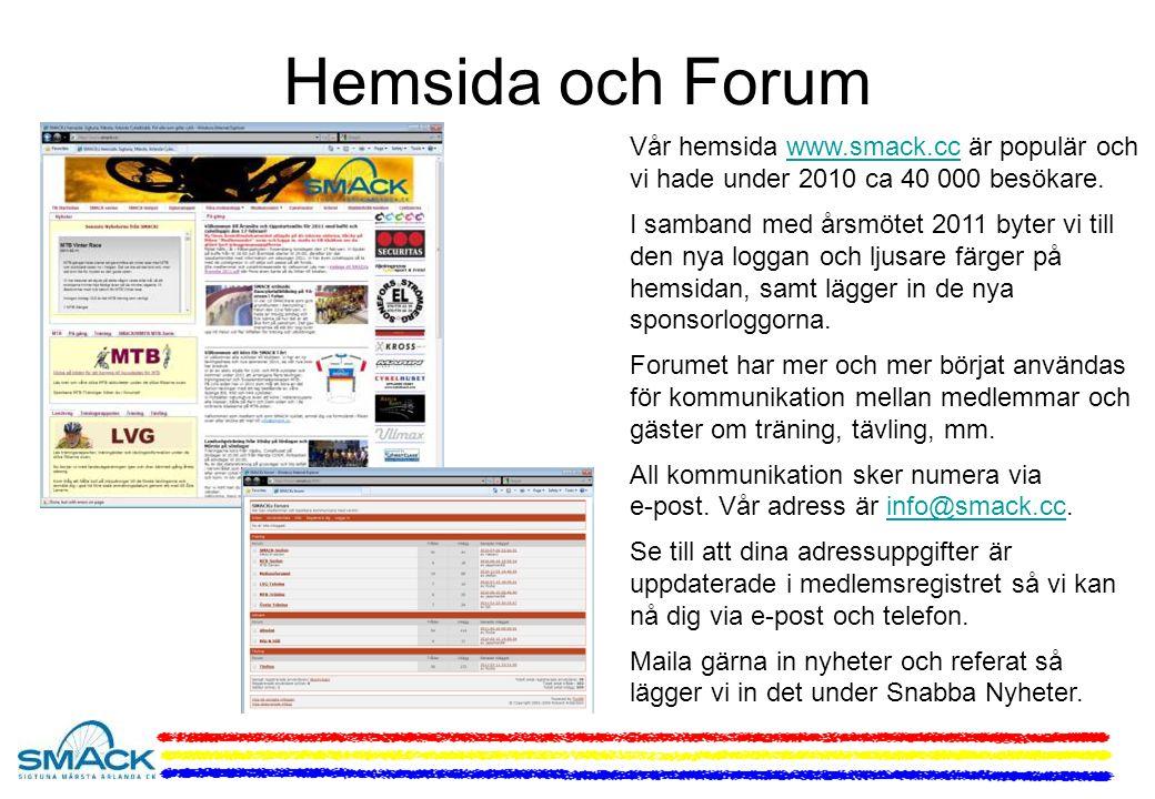 Hemsida och Forum Vår hemsida www.smack.cc är populär och vi hade under 2010 ca 40 000 besökare.www.smack.cc I samband med årsmötet 2011 byter vi till den nya loggan och ljusare färger på hemsidan, samt lägger in de nya sponsorloggorna.