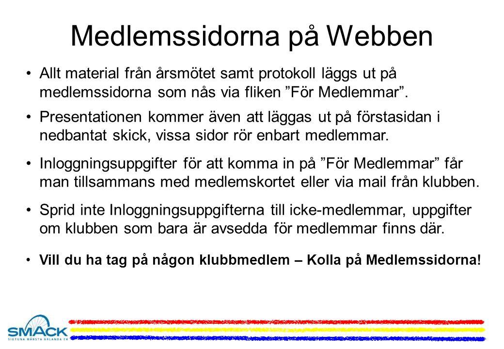 Medlemssidorna på Webben Allt material från årsmötet samt protokoll läggs ut på medlemssidorna som nås via fliken För Medlemmar .