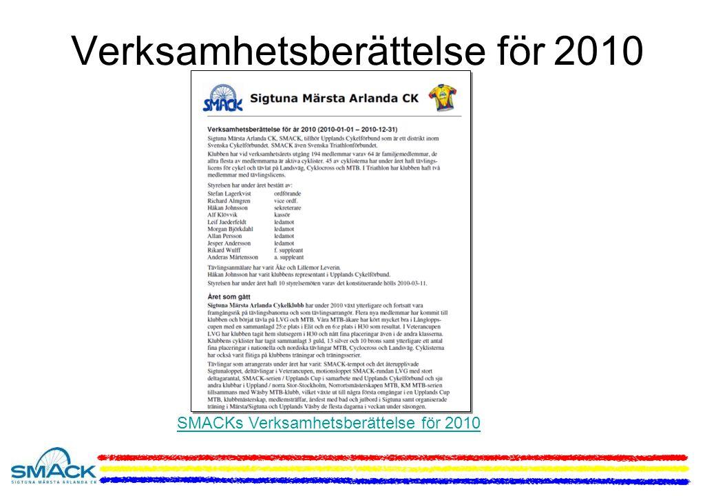 Verksamhetsberättelse för 2010 SMACKs Verksamhetsberättelse för 2010