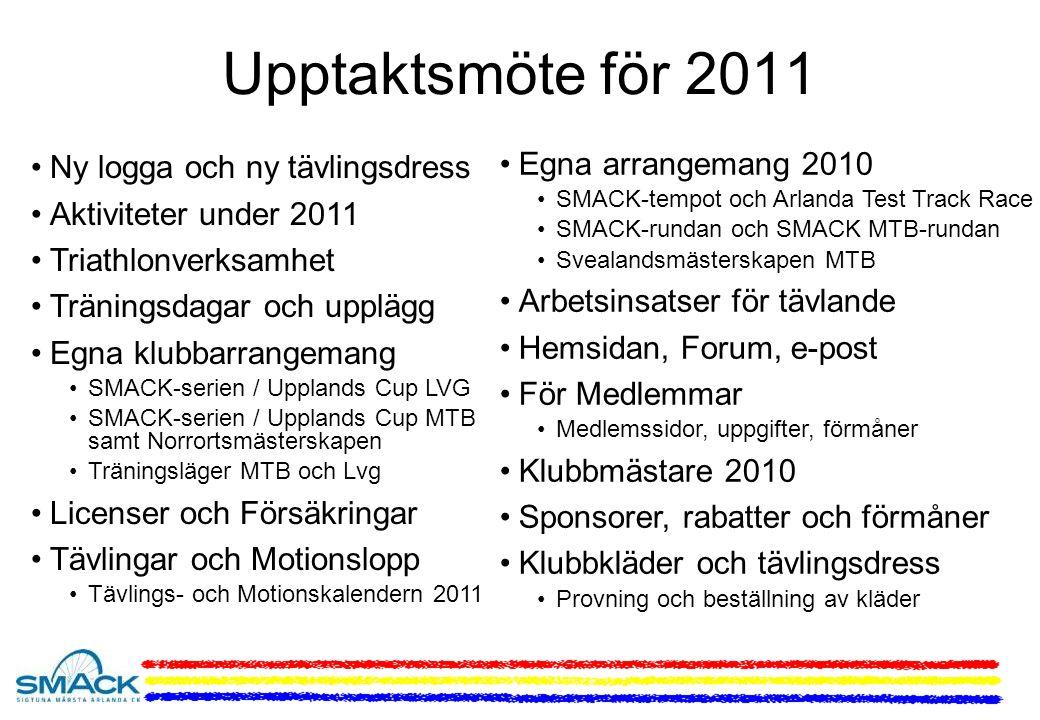 Upptaktsmöte för 2011 Ny logga och ny tävlingsdress Aktiviteter under 2011 Triathlonverksamhet Träningsdagar och upplägg Egna klubbarrangemang SMACK-serien / Upplands Cup LVG SMACK-serien / Upplands Cup MTB samt Norrortsmästerskapen Träningsläger MTB och Lvg Licenser och Försäkringar Tävlingar och Motionslopp Tävlings- och Motionskalendern 2011 Egna arrangemang 2010 SMACK-tempot och Arlanda Test Track Race SMACK-rundan och SMACK MTB-rundan Svealandsmästerskapen MTB Arbetsinsatser för tävlande Hemsidan, Forum, e-post För Medlemmar Medlemssidor, uppgifter, förmåner Klubbmästare 2010 Sponsorer, rabatter och förmåner Klubbkläder och tävlingsdress Provning och beställning av kläder