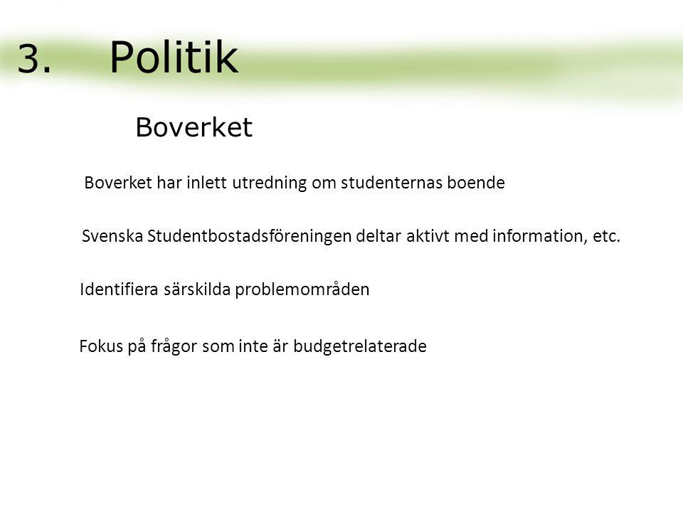 Boverket har inlett utredning om studenternas boende Svenska Studentbostadsföreningen deltar aktivt med information, etc. Identifiera särskilda proble