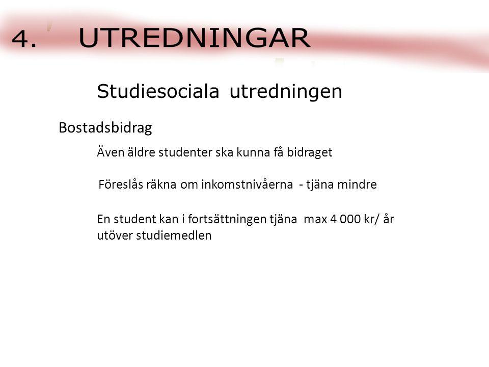 Även äldre studenter ska kunna få bidraget Studiesociala utredningen Bostadsbidrag Föreslås räkna om inkomstnivåerna - tjäna mindre En student kan i fortsättningen tjäna max 4 000 kr/ år utöver studiemedlen