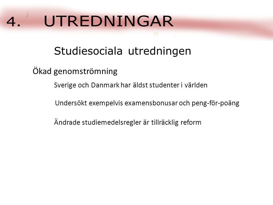 Sverige och Danmark har äldst studenter i världen Studiesociala utredningen Ökad genomströmning Undersökt exempelvis examensbonusar och peng-för-poäng