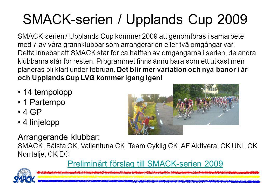 SMACK-serien / Upplands Cup kommer 2009 att genomföras i samarbete med 7 av våra grannklubbar som arrangerar en eller två omgångar var. Detta innebär