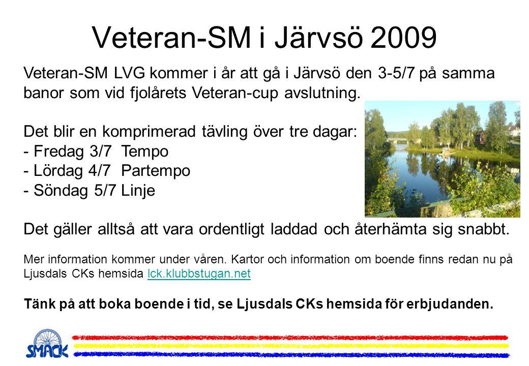 Veteran-SM i Järvsö 2009 Veteran-SM LVG kommer i år att gå i Järvsö den 3-5/7 på samma banor som vid fjolårets Veteran-cup avslutning. Det blir en kom