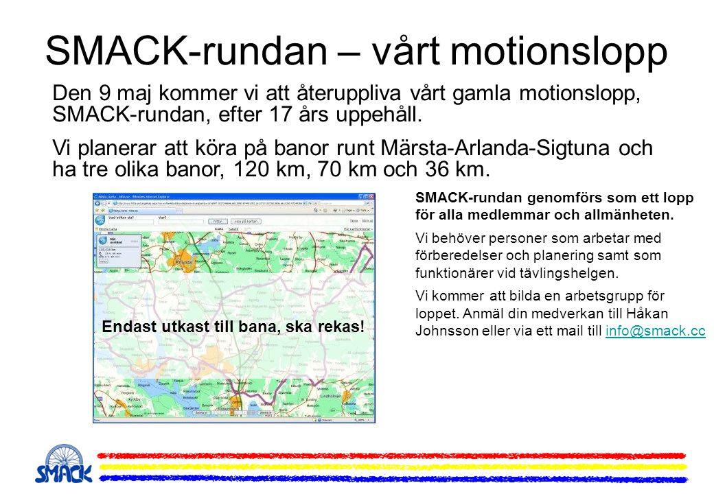 SMACK-rundan – vårt motionslopp Den 9 maj kommer vi att återuppliva vårt gamla motionslopp, SMACK-rundan, efter 17 års uppehåll. Vi planerar att köra