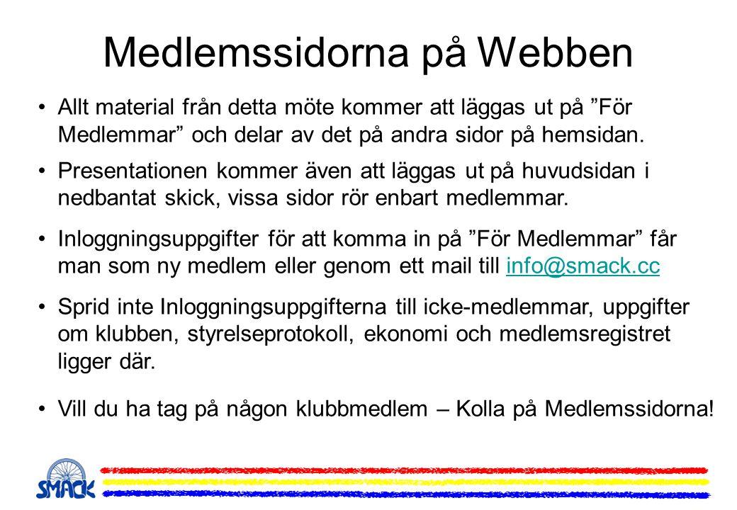 """Medlemssidorna på Webben Allt material från detta möte kommer att läggas ut på """"För Medlemmar"""" och delar av det på andra sidor på hemsidan. Presentati"""