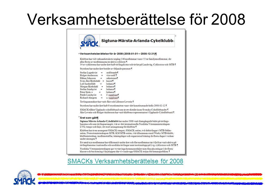 Upptaktsmöte för 2009 Aktiviteter under 2009 Träningsdagar och upplägg Egna klubbarrangemang SMACK-serien / Upplands Cup SMACK och Wäsby MTB-serie Träningsläger MTB och Lvg Inbjudan Cykelresa till Toscana Frågor till medlemmarna Licenser och Försäkringar Tävlingar och Motionslopp Tävlingskalendern LVG och MTB 2009 Motionskalendern 2009 Egna arrangemang 2009 SMACK-tempot SMACK-rundan Keps Cup och MTB Sthlm Hemsidan, Forum, e-post För Medlemmar Medlemssidor och uppgifter Medlemskort och förmåner Klubbmästare 2008 Våra sponsorer Klubbkläder Provning och beställning av klubbkläder