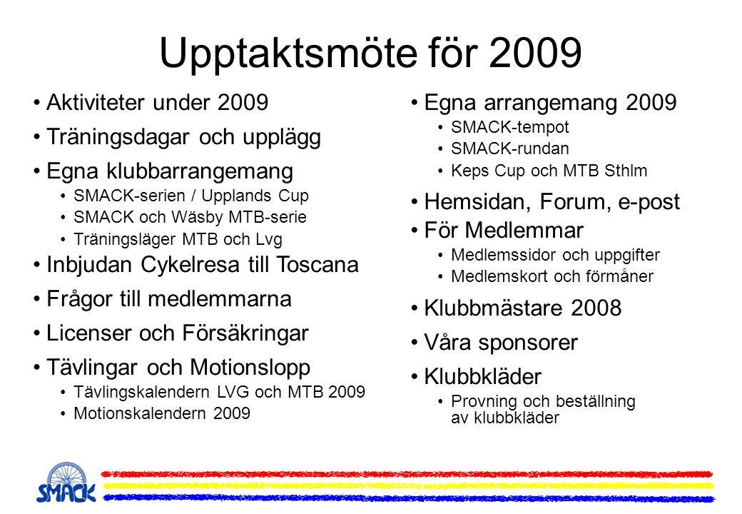 Upptaktsmöte för 2009 Aktiviteter under 2009 Träningsdagar och upplägg Egna klubbarrangemang SMACK-serien / Upplands Cup SMACK och Wäsby MTB-serie Trä