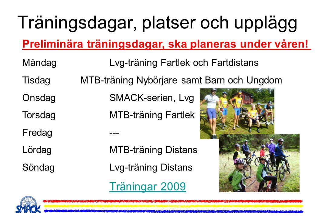 Träningsdagar, platser och upplägg Preliminära träningsdagar, ska planeras under våren! MåndagLvg-träning Fartlek och Fartdistans TisdagMTB-träning Ny