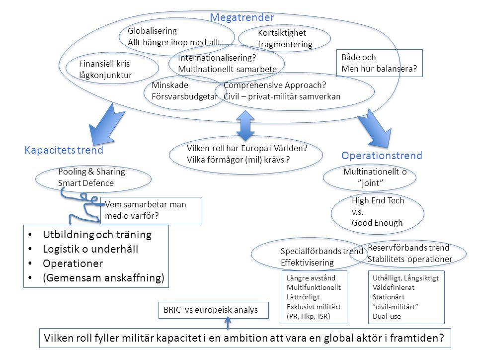 Vilken roll har Europa i Världen? Vilka förmågor (mil) krävs ? Comprehensive Approach? Civil – privat-militär samverkan Globalisering Allt hänger ihop