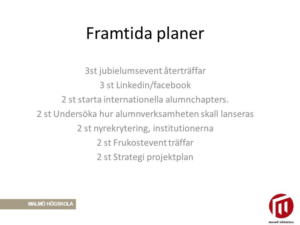 Framtida planer 3st jubielumsevent återträffar 3 st Linkedin/facebook 2 st starta internationella alumnchapters. 2 st Undersöka hur alumnverksamheten