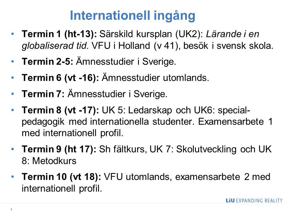 Internationell ingång Termin 1 (ht-13): Särskild kursplan (UK2): Lärande i en globaliserad tid.