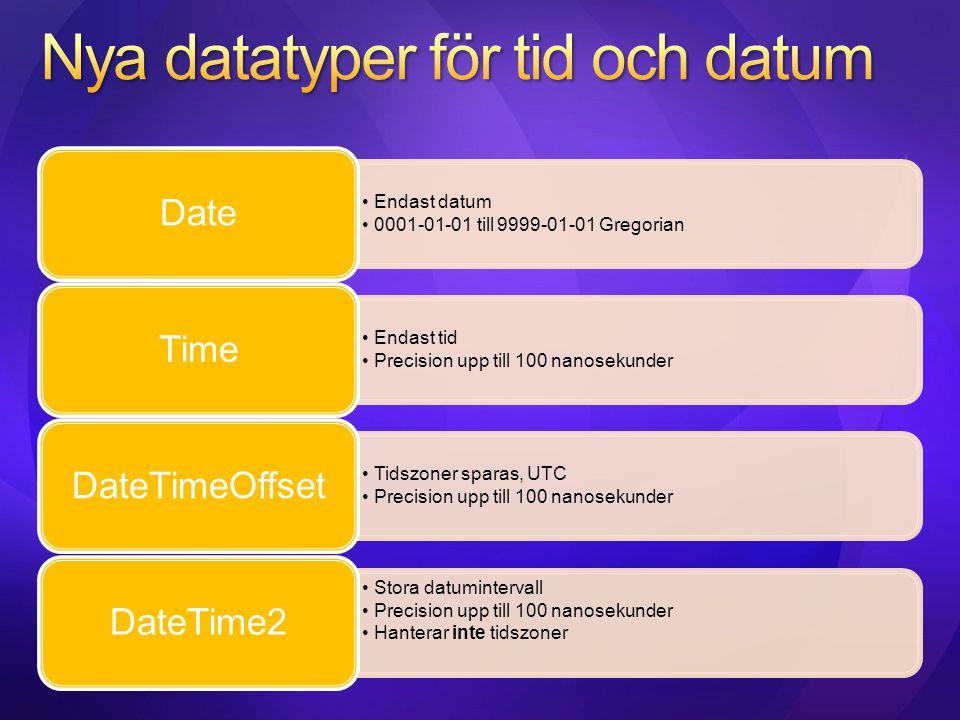Endast datum 0001-01-01 till 9999-01-01 Gregorian Date Endast tid Precision upp till 100 nanosekunder Time Tidszoner sparas, UTC Precision upp till 10