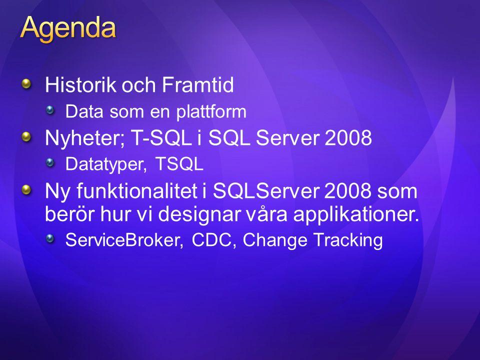 Historik och Framtid Data som en plattform Nyheter; T-SQL i SQL Server 2008 Datatyper, TSQL Ny funktionalitet i SQLServer 2008 som berör hur vi design