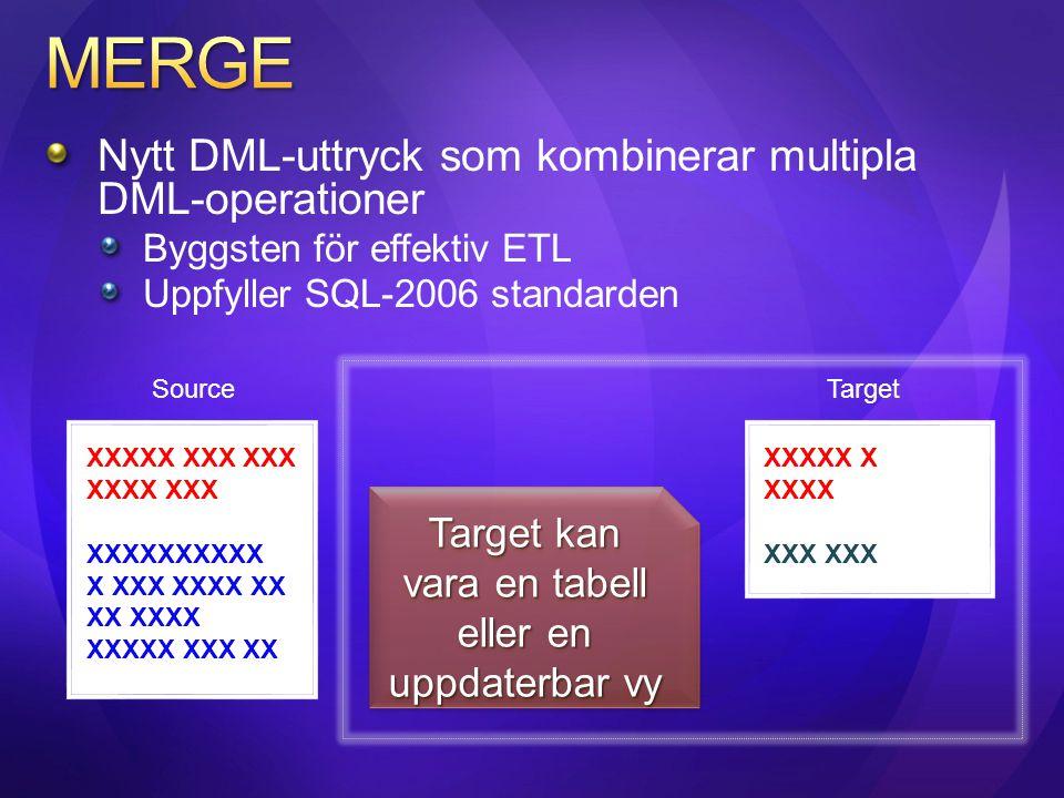 Nytt DML-uttryck som kombinerar multipla DML-operationer Byggsten för effektiv ETL Uppfyller SQL-2006 standarden XXXXX XXX XXX XXXX XXX XXXXXXXXXX XX