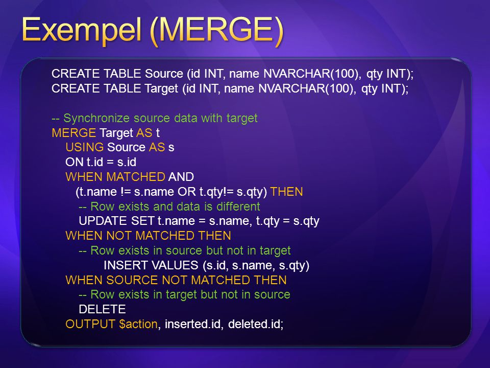 CREATE TABLE Source (id INT, name NVARCHAR(100), qty INT); CREATE TABLE Target (id INT, name NVARCHAR(100), qty INT); -- Synchronize source data with target MERGE Target AS t USING Source AS s ON t.id = s.id WHEN MATCHED AND (t.name != s.name OR t.qty!= s.qty) THEN -- Row exists and data is different UPDATE SET t.name = s.name, t.qty = s.qty WHEN NOT MATCHED THEN -- Row exists in source but not in target INSERT VALUES (s.id, s.name, s.qty) WHEN SOURCE NOT MATCHED THEN -- Row exists in target but not in source DELETE OUTPUT $action, inserted.id, deleted.id;