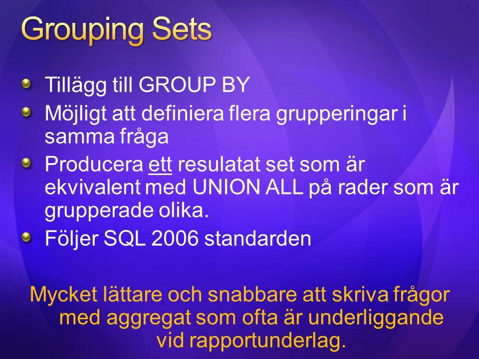 Tillägg till GROUP BY Möjligt att definiera flera grupperingar i samma fråga Producera ett resulatat set som är ekvivalent med UNION ALL på rader som