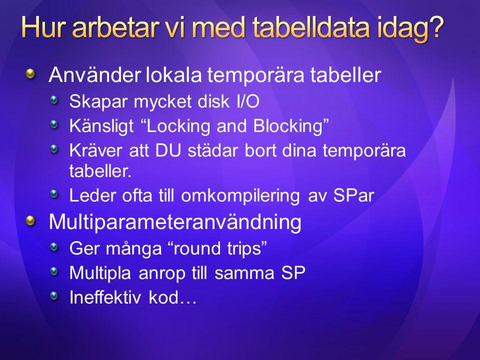 """Använder lokala temporära tabeller Skapar mycket disk I/O Känsligt """"Locking and Blocking"""" Kräver att DU städar bort dina temporära tabeller. Leder oft"""