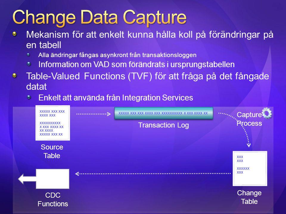 Mekanism för att enkelt kunna hålla koll på förändringar på en tabell Alla ändringar fångas asynkront från transaktionsloggen Information om VAD som f