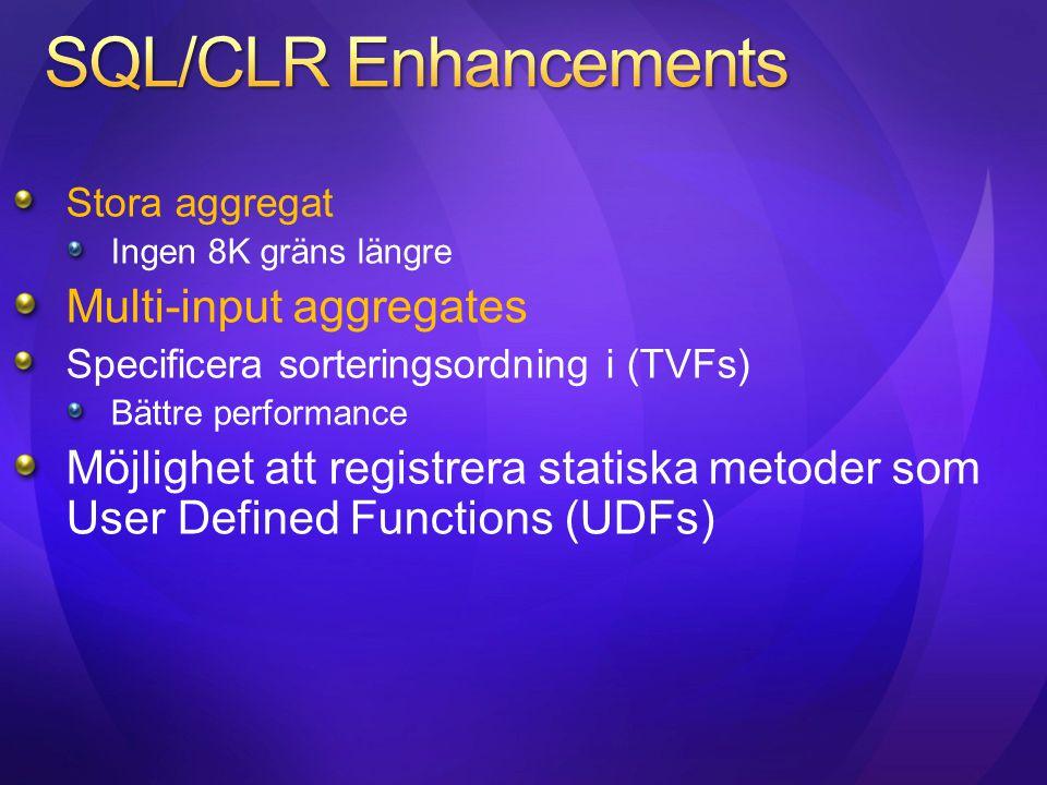 Stora aggregat Ingen 8K gräns längre Multi-input aggregates Specificera sorteringsordning i (TVFs) Bättre performance Möjlighet att registrera statisk