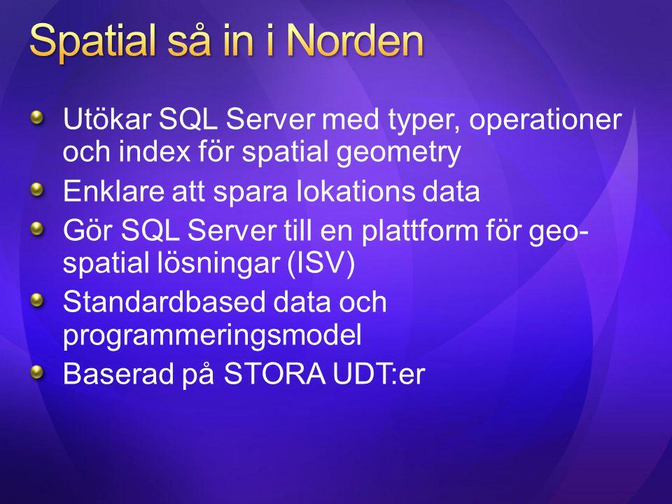 Utökar SQL Server med typer, operationer och index för spatial geometry Enklare att spara lokations data Gör SQL Server till en plattform för geo- spa