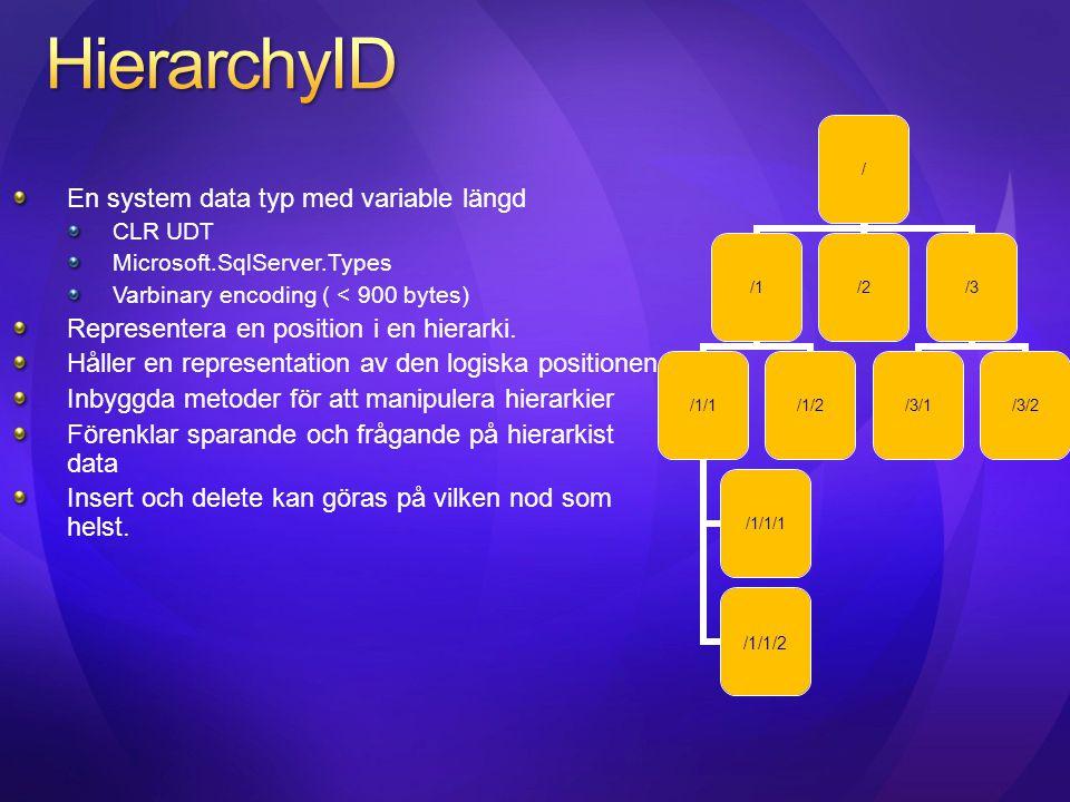 En system data typ med variable längd CLR UDT Microsoft.SqlServer.Types Varbinary encoding ( < 900 bytes) Representera en position i en hierarki. Håll