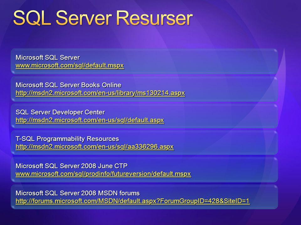 SQL Server Developer Center http://msdn2.microsoft.com/en-us/sql/default.aspx Microsoft SQL Server 2008 MSDN forums http://forums.microsoft.com/MSDN/d