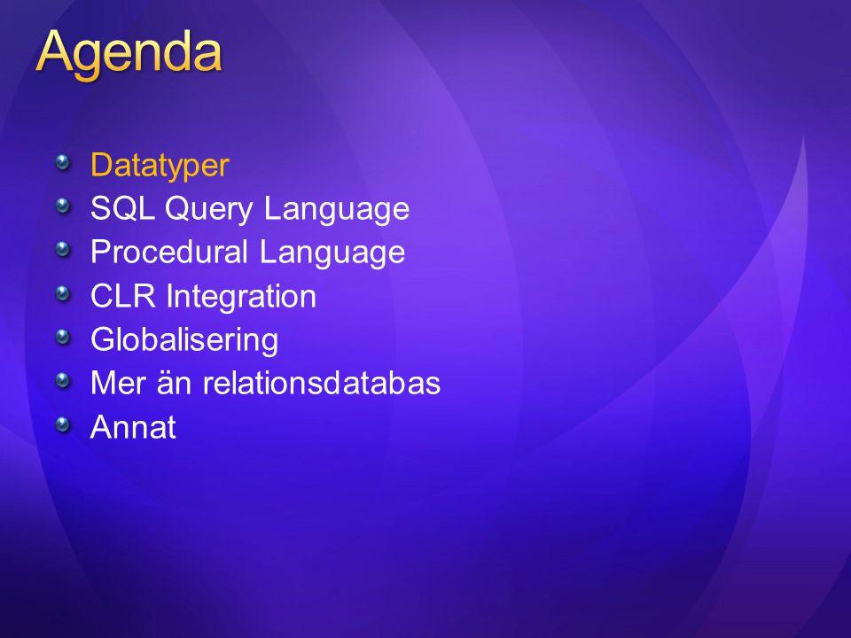 Sparse sätts som ett attribute på en kolumn Lagringsoptimering: 0 bytes sparas för NULL värden NULL komprimeras I (Tabular Data Stream) TDS lagret Ingen förändring vid frågor/DML // Sparse as a storage attibute in Create/Alter table statements Create Table Products(Id int, Type nvarchar(16)…, Resolution int SPARSE, ZoomLength int SPARSE); // No Change in Query/DML Behavior Select Id, Type, Resolution, ZoomLength from Products; Update Products set Resolution=3, ZoomLength = 105 where Id = 101; // Sparse as a storage attibute in Create/Alter table statements Create Table Products(Id int, Type nvarchar(16)…, Resolution int SPARSE, ZoomLength int SPARSE); // No Change in Query/DML Behavior Select Id, Type, Resolution, ZoomLength from Products; Update Products set Resolution=3, ZoomLength = 105 where Id = 101;