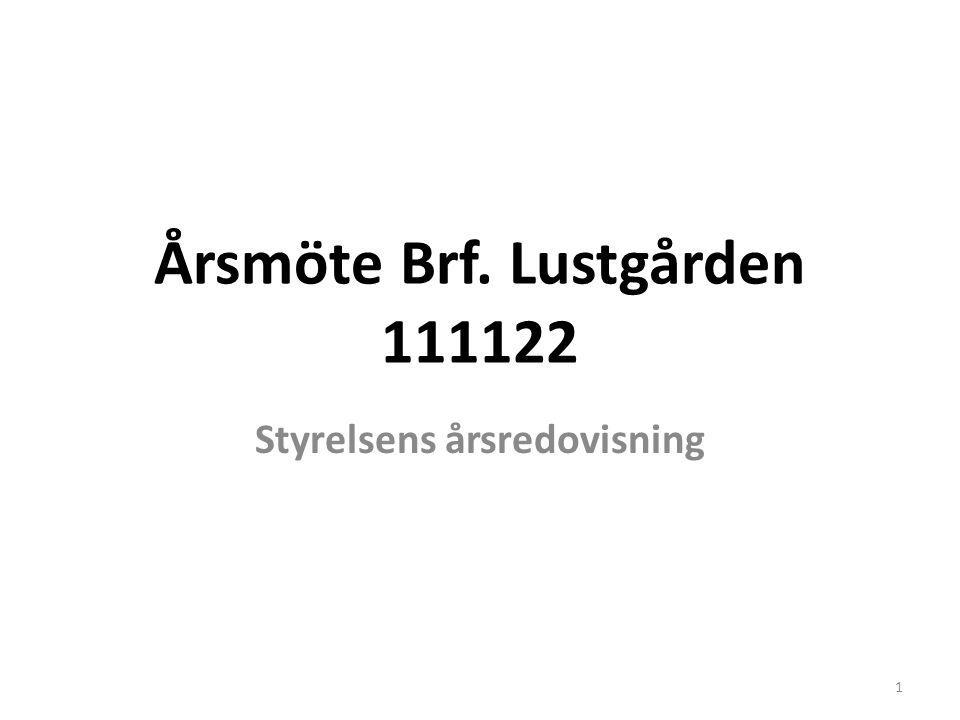 Årsmöte Brf. Lustgården 111122 Styrelsens årsredovisning 1