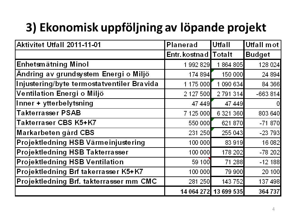 3) Ekonomisk uppföljning av löpande projekt 4
