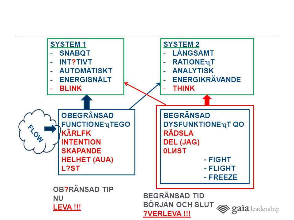 SYSTEM 1 -SNABQT -INT TIVT -AUTOMATISKT -ENERGISNÅLT -BLINK SYSTEM 2 -LÀNGSAMT -RATIONET -ANALYTISK -ENERGIKRÄVANDE -THINK OBEGR Ȃ NSAD FUNCTIONETEGO K Ȁ RLFK INTENTION SKAPANDE HELHET (AUA) L ST BEGRĀNSAD DYSFUNKTIONET QO RÄDSLA DEL (JAG) 0LИST - FIGHT - FLIGHT - FREEZE OB RÄNSAD TIP NU LEVA !!.