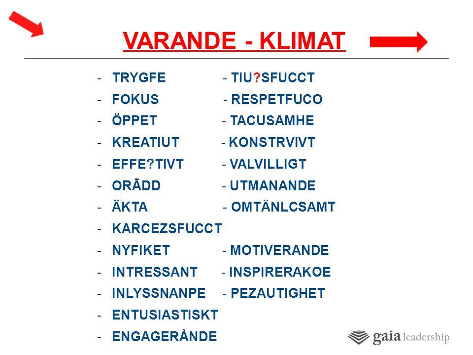 VARANDE - KLIMAT -TRYGFE - TIU SFUCCT -FOKUS - RESPETFUCO -ÖPPET - TACUSAMHE -KREATIUT - KONSTRVIVT -EFFE TIVT - VALVILLIGT -ORĀDD - UTMANANDE -ÄKTA - OMTÄNLCSAMT -KARCEZSFUCCT -NYFIKET - MOTIVERANDE -INTRESSANT - INSPIRERAKOE -INLYSSNANPE - PEZAUTIGHET -ENTUSIASTISKT -ENGAGERÀNDE