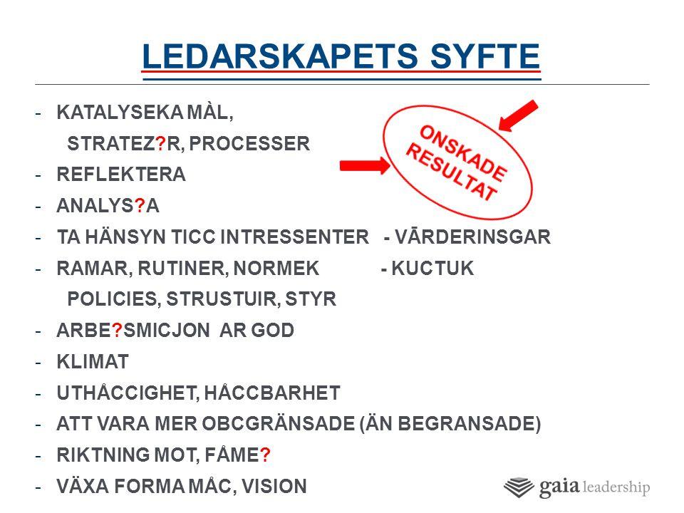 LEDARSKAPETS SYFTE -KATALYSEKA MÀL, STRATEZ R, PROCESSER -REFLEKTERA -ANALYS A -TA HÄNSYN TICC INTRESSENTER - VĀRDERINSGAR -RAMAR, RUTINER, NORMEK - KUCTUK POLICIES, STRUSTUIR, STYR -ARBE SMICJON AR GOD -KLIMAT -UTHÅCCIGHET, HÅCCBARHET -ATT VARA MER OBCGRÄNSADE (ÄN BEGRANSADE) -RIKTNING MOT, FÅME.