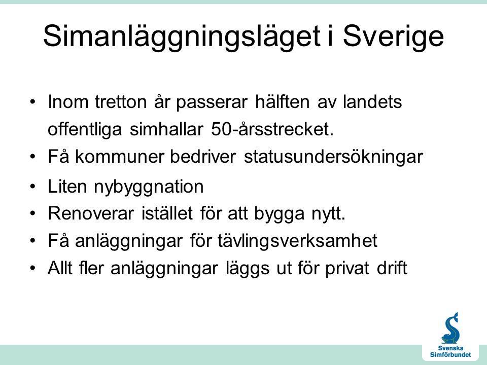 Simanläggningsläget i Sverige Inom tretton år passerar hälften av landets offentliga simhallar 50-årsstrecket.