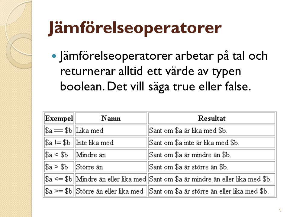 9 Jämförelseoperatorer Jämförelseoperatorer arbetar på tal och returnerar alltid ett värde av typen boolean. Det vill säga true eller false.