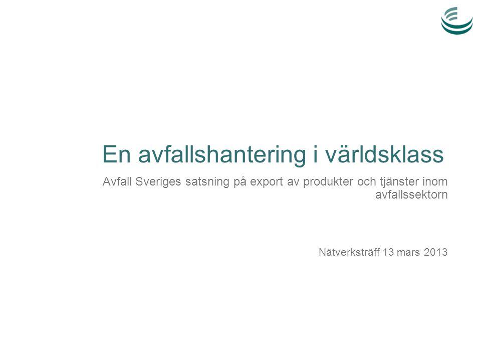 Dagens agenda 8.30 Inledning och överblick över projektet/satsningen 9.00 Genomgång av byggstenarna/verktygen och pågående projekt/piloter (fika 9.30-10) 11.15 Benchmarking med framgångsrika exportländer – Olof Hjelm, Industriell miljöteknik, Linköpings Universitet 11.45 Lunch 12.45 Agenda för kunddriven innovation av avfallslösningar – förslag till målbild för satsningen 14.15 Hur jobbar vi praktiskt i nätverket.