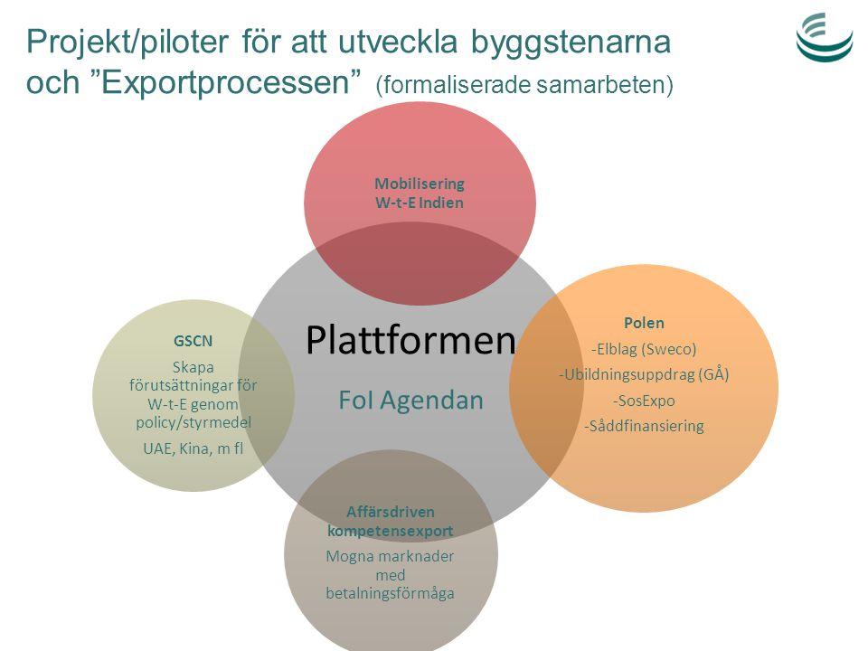 """Projekt/piloter för att utveckla byggstenarna och """"Exportprocessen"""" (formaliserade samarbeten) Plattformen FoI Agendan Mobilisering W-t-E Indien Polen"""