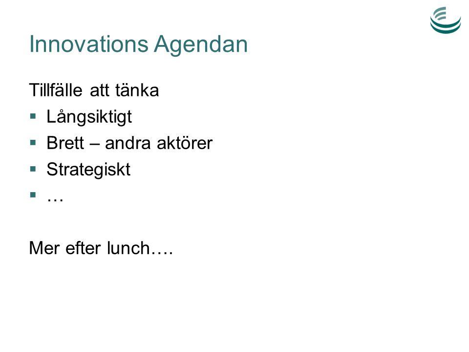 Innovations Agendan Tillfälle att tänka  Långsiktigt  Brett – andra aktörer  Strategiskt  … Mer efter lunch….