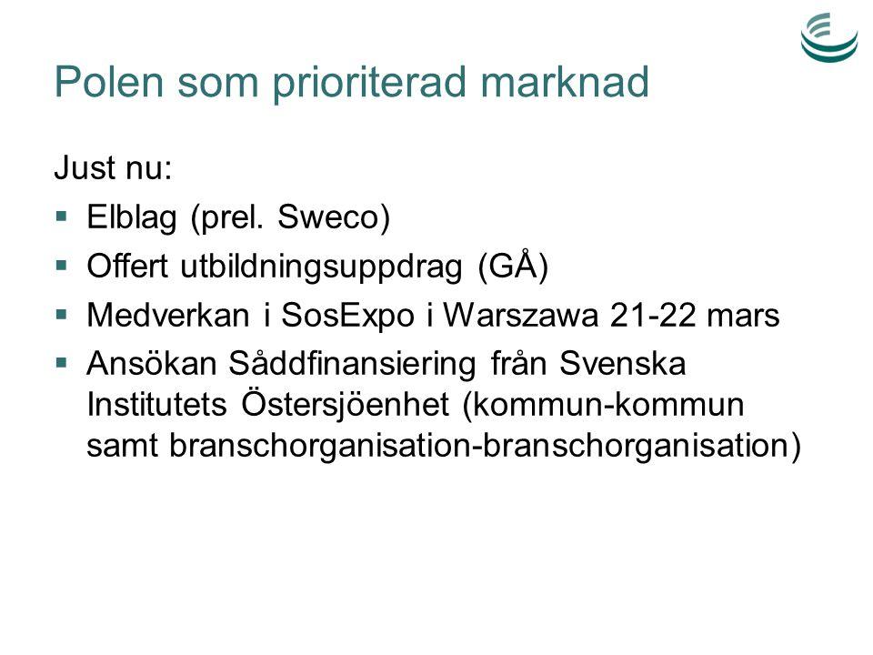 Polen som prioriterad marknad Just nu:  Elblag (prel. Sweco)  Offert utbildningsuppdrag (GÅ)  Medverkan i SosExpo i Warszawa 21-22 mars  Ansökan S